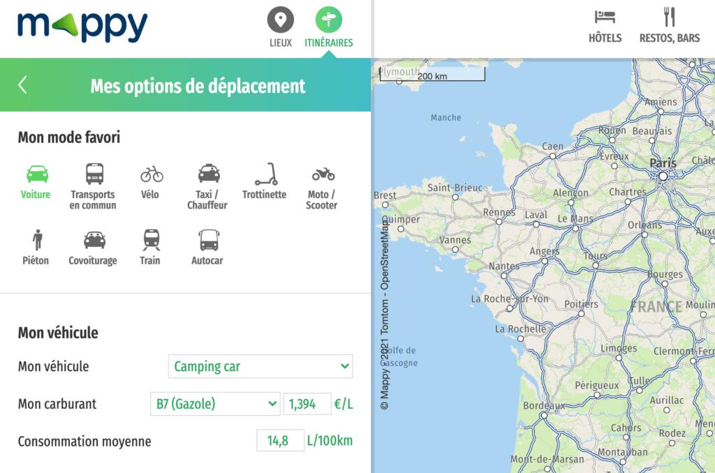 """Choisir mode de déplacement """"Camping-car"""" dans Mappy"""