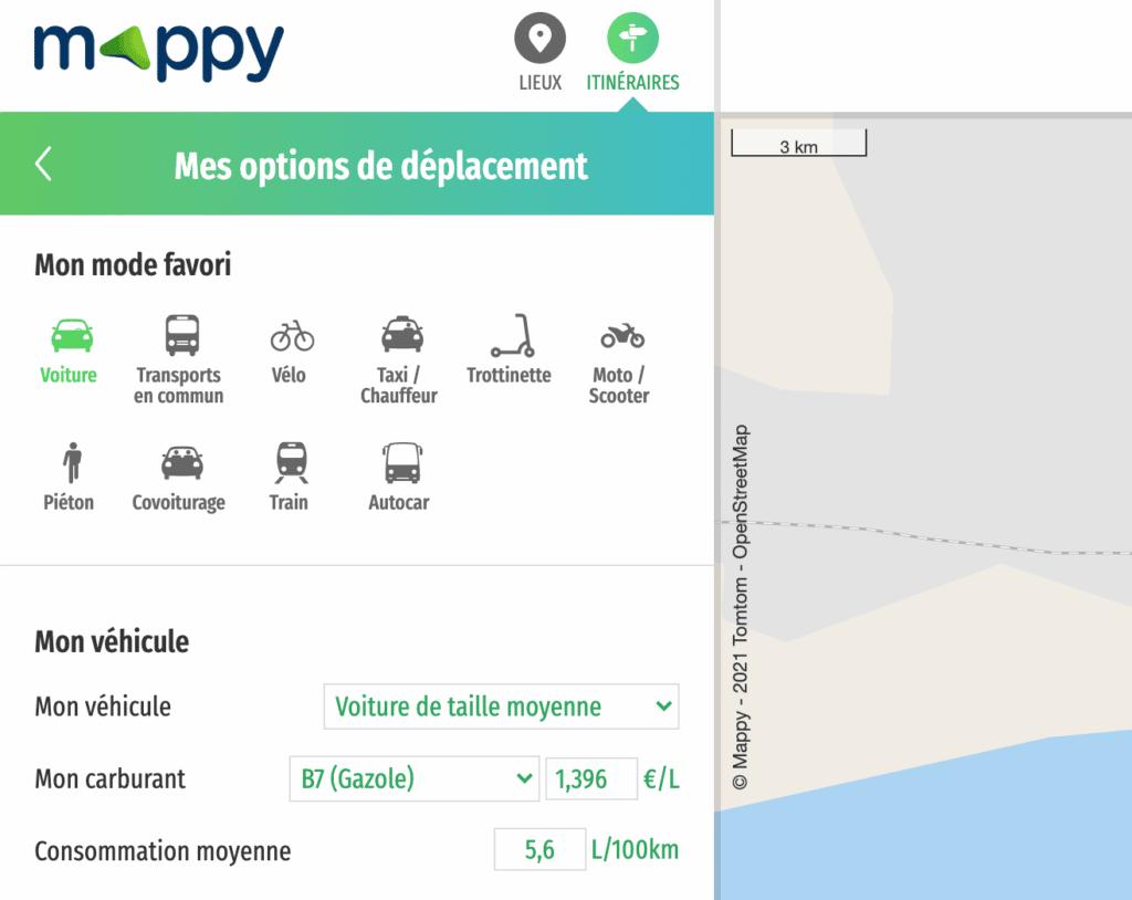 Options de déplacement dans Itinéraire Mappy