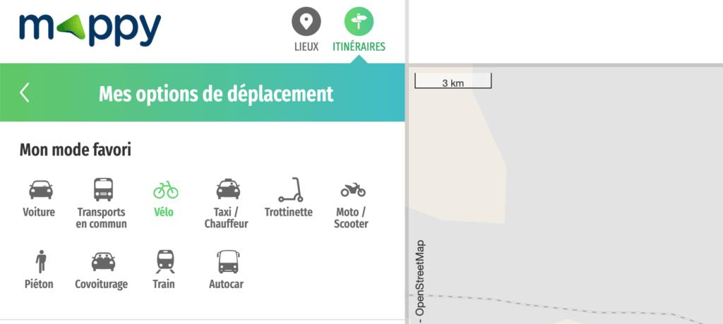 Sélectionner mode de déplacement vélo dans Itinéraire Mappy